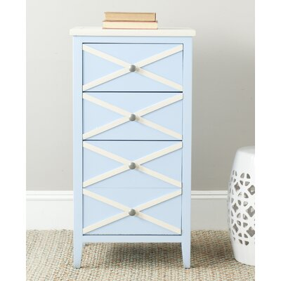 Chereen 4 Drawer End Table Finish: Light Blue / White