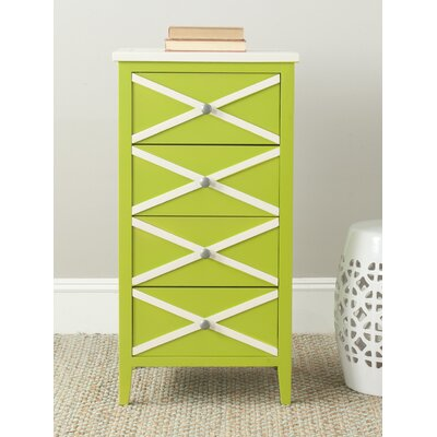 Chereen 4 Drawer End Table Finish: Green / White