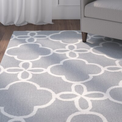 Hand-Hooked Gray/Ivory Indoor/Outdoor Area Rug Rug Size: 36 x 56