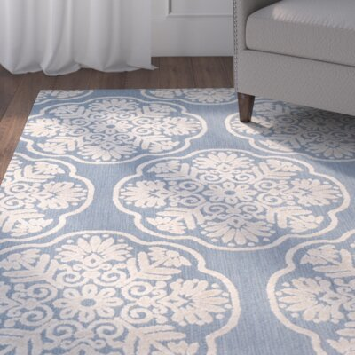 Light Blue/Beige Indoor/Outdoor Area Rug Rug Size: 4 x 6