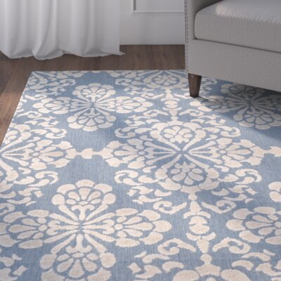 Robinwood Light Blue/Beige Indoor/Outdoor Area Rug Rug Size: Rectangle 53 x 77