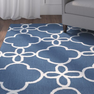 Hand-Hooked Navy/Ivory Indoor/Outdoor Area Rug Rug Size: 36 x 56