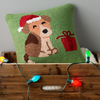 Christmas Hound And Present Throw Pillow Fill Type: Polyester
