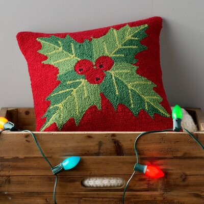 Christmas Mistletoe Throw Pillow Fill Type: Down, Color: Red