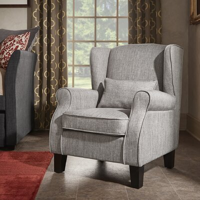 Schiller Solid Dobby Wingback Chair Upholstery: Gray