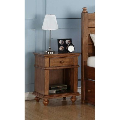 Courtdale 1 Drawer Nightstand Finish: Acacia