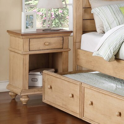 Courtdale 1 Drawer Nightstand Color: Wheat