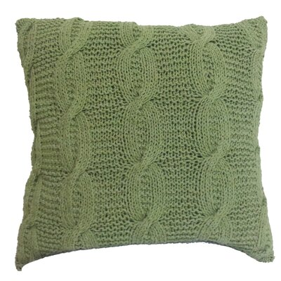 Broadway Village Cable Knit Cotton Throw Pillow Color: Green