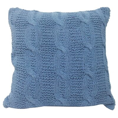Broadway Village Cable Knit Cotton Throw Pillow Color: Blue