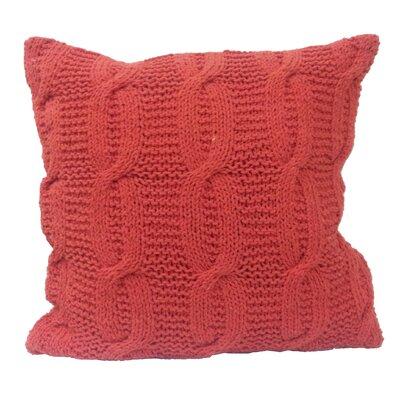 Broadway Village Cable Knit Cotton Throw Pillow Color: Orange