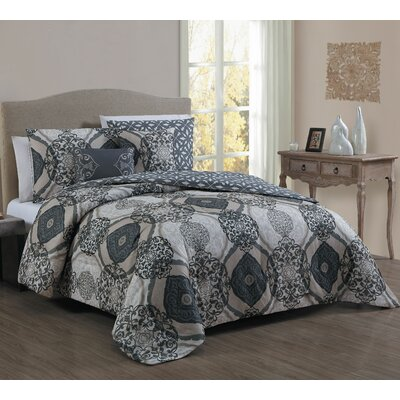Halcott 5 Piece Comforter Set Color: Black, Size: Queen