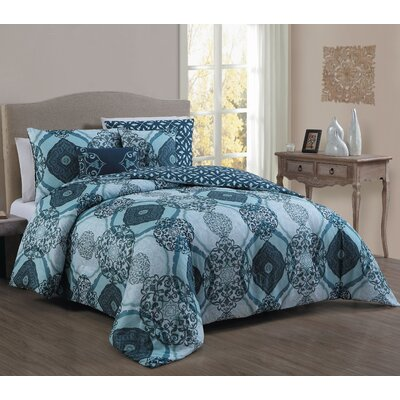 Halcott 5 Piece Comforter Set Size: Queen, Color: Blue