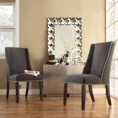 Chicago Wingback Parsons Chair Upholstery: Dark Grey Fabric