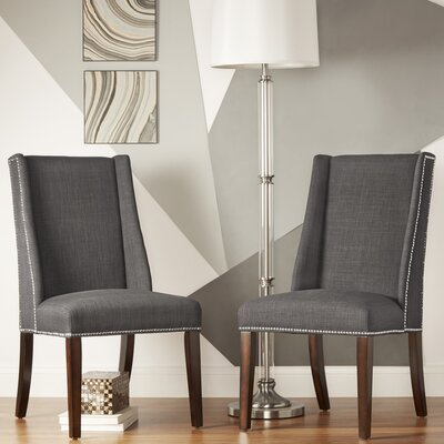 Chicago Parsons Chair Upholstery: Dark Grey Linen