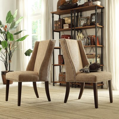 Chicago Wingback Parsons Chair Upholstery: Light Brown Chenille