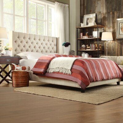 Crawley Upholstered Platform Bed Size: King, Color: Beige