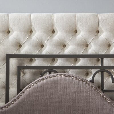 Crawley Upholstered Wingback Headboard Size: Queen, Upholstery: Gray
