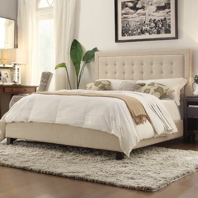 Woodside Upholstered Panel Bed Upholstery: Beige, Size: King