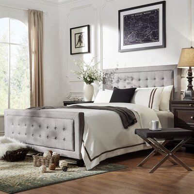 Woodside Upholstered Panel Bed Size: Queen, Upholstery: Gray