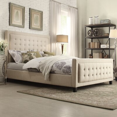 Woodside Upholstered Platform Bed Size: Queen, Color: Beige