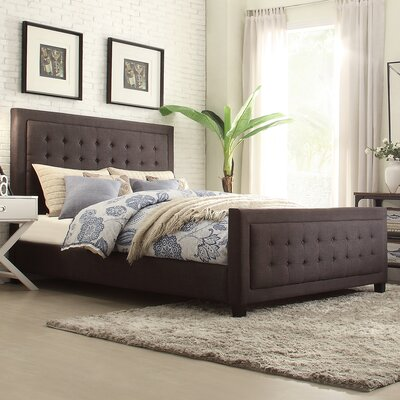 Woodside Upholstered Panel Bed Upholstery: Dark Gray, Size: Full