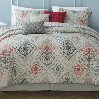 Zora 7 Piece Comforter Set Size: King, Color: Red