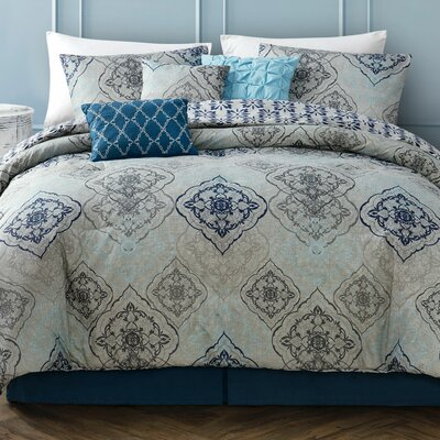Zora 7 Piece Comforter Set Size: King, Color: Blue