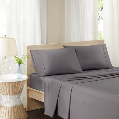 Carew 300 Thread Count Cotton Percale Sheet Set Size: Queen, Color: Gray