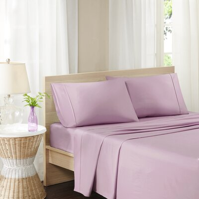 Carew 300 Thread Count Cotton Percale Sheet Set Size: King, Color: Plum