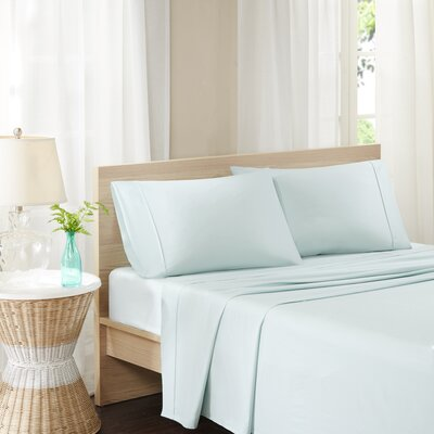 Carew 300 Thread Count Cotton Percale Sheet Set Size: Twin, Color: Seafoam