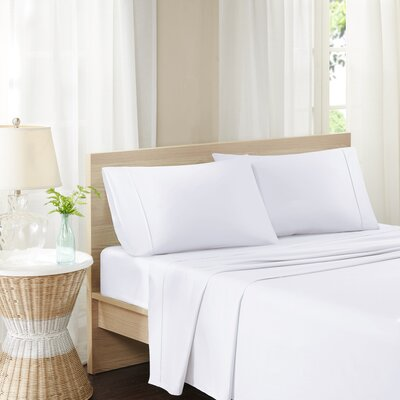 Carew 300 Thread Count Cotton Percale Sheet Set Size: Queen, Color: White