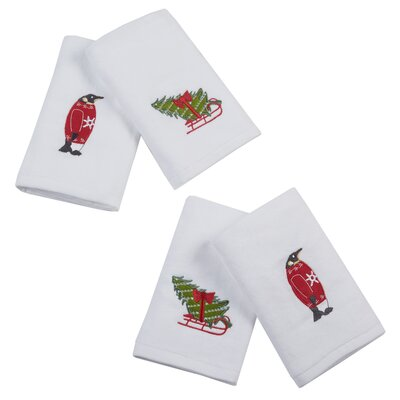 Holiday Towels Sleigh Ride Embroidered 4 Piece Towel Set