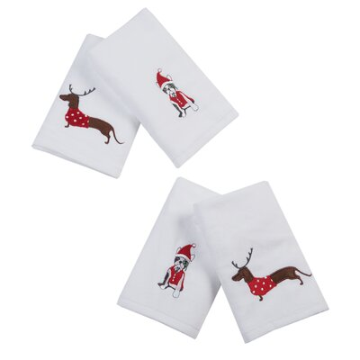 Holiday Towels Donner Dog Embroidered 4 Piece Towel Set