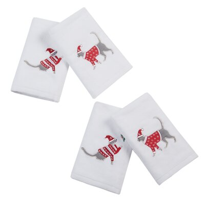 Holiday Towels Holiday Cat Embroidered 4 Piece Towel Set