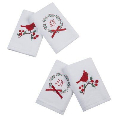 Holiday Towels Caroling Cardinal Embroidered 4 Piece Towel Set