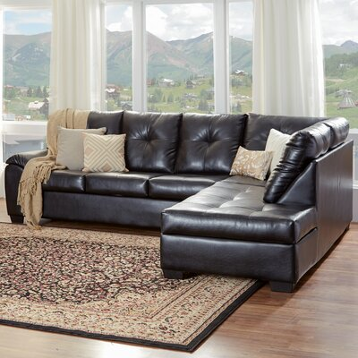 Camden Right Hand Facing Sectional Upholstery: San Marino Black