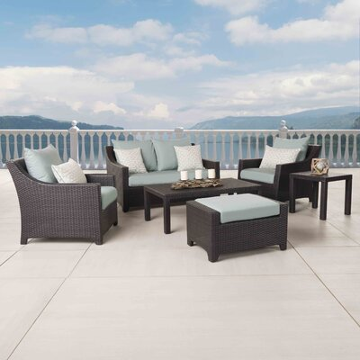 Northridge 6 Piece Deep Seating Group with Cushions Fabric: Spa Blue