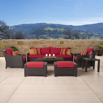 Northridge 8 Piece Deep Seating Group in Espresso with Cushions Fabric: Sunset Red