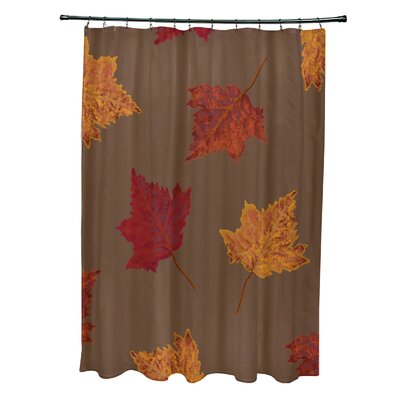 Avis Dancing Leaves Flower Print Shower Curtain Color: Brown
