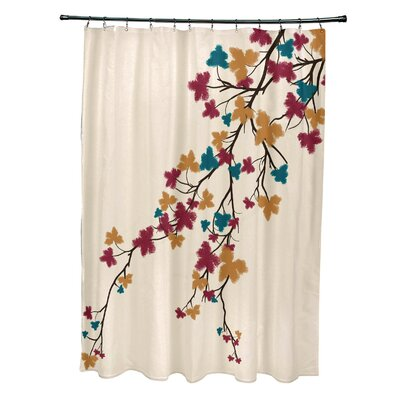 Maple Hues Flower Print Shower Curtain Color: Teal