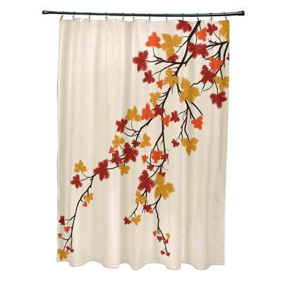 Avonmore Maple Hues Flower Print Shower Curtain Color: Orange