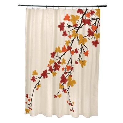 Avonmore Maple Hues Flower Print Shower Curtain Color: Orange