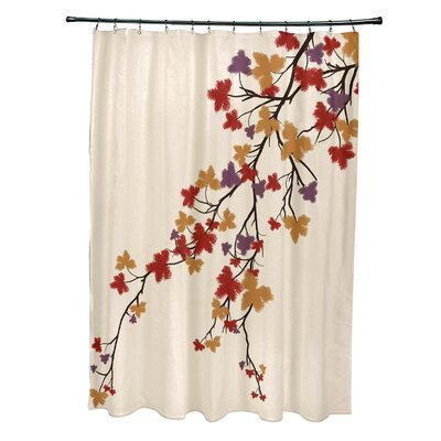 Maple Hues Flower Print Shower Curtain Color: Purple