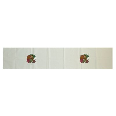 Autumn Leaves Floral Print Table Runner Color: Off White, Size: 16