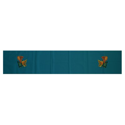 Autumn Colors Floral Print Table Runner Color: Teal, Size: 16