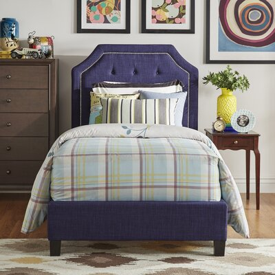 Abbey Twin Upholstered Panel Bed Upholstery: Twilight Blue