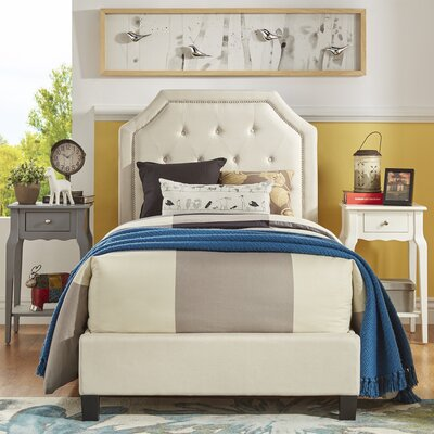 Abbey Twin Upholstered Panel Bed Finish: White
