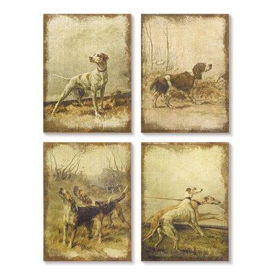 'Hunting Dog' 4 Piece Painting Print Set