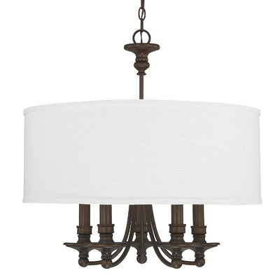 Wellington 5-Light Drum Chandelier Shade Color: White