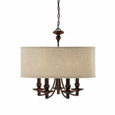 5-Light Drum Chandelier Shade Color: Beige